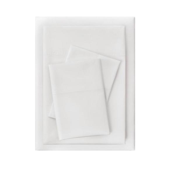 StyleWell Vintage Washed Cotton Percale 4-Piece King Sheet Set in White