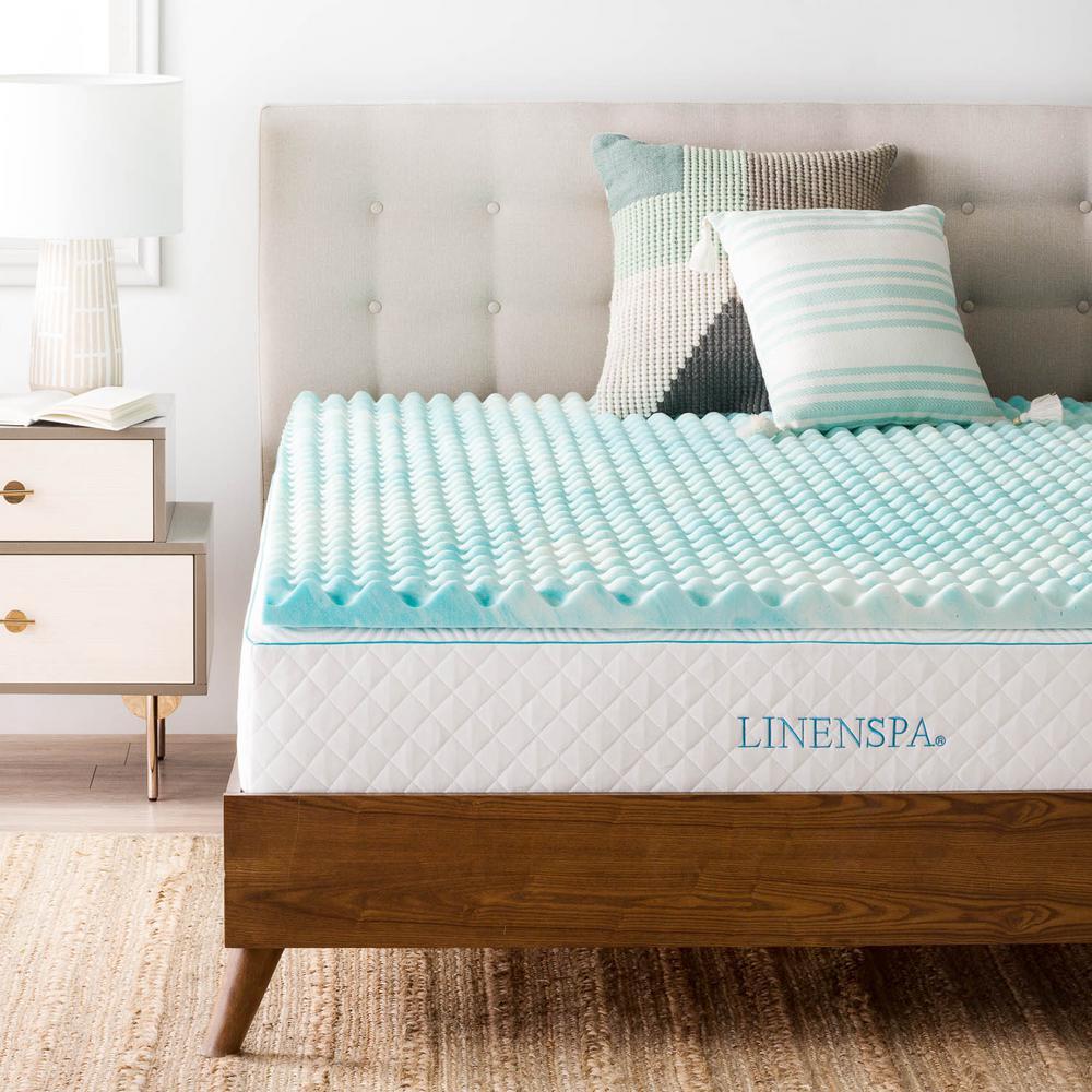 full bed memory foam Linenspa 2 in. Full Convoluted Gel Swirl Memory Foam Mattress  full bed memory foam