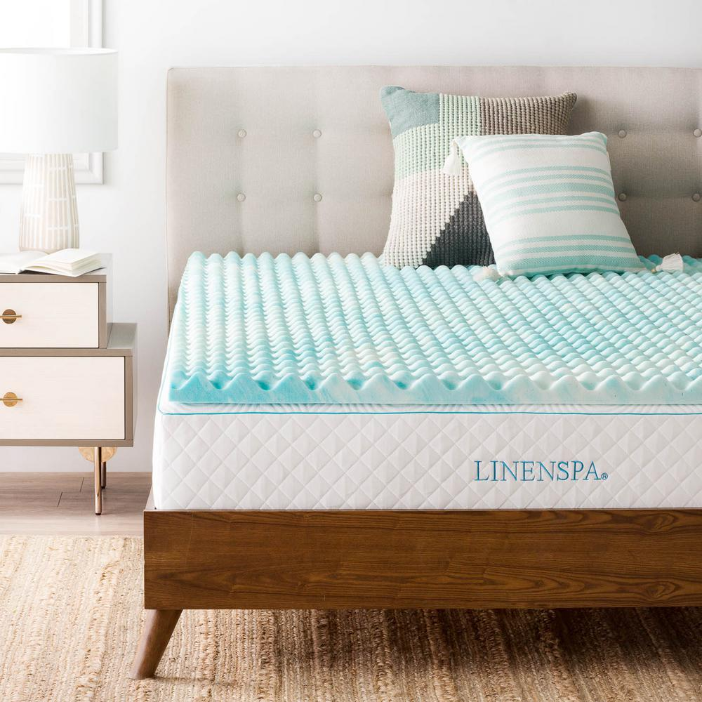 lucid gel memory foam mattress topper Linenspa 2 in. Queen Convoluted Gel Swirl Memory Foam Mattress  lucid gel memory foam mattress topper