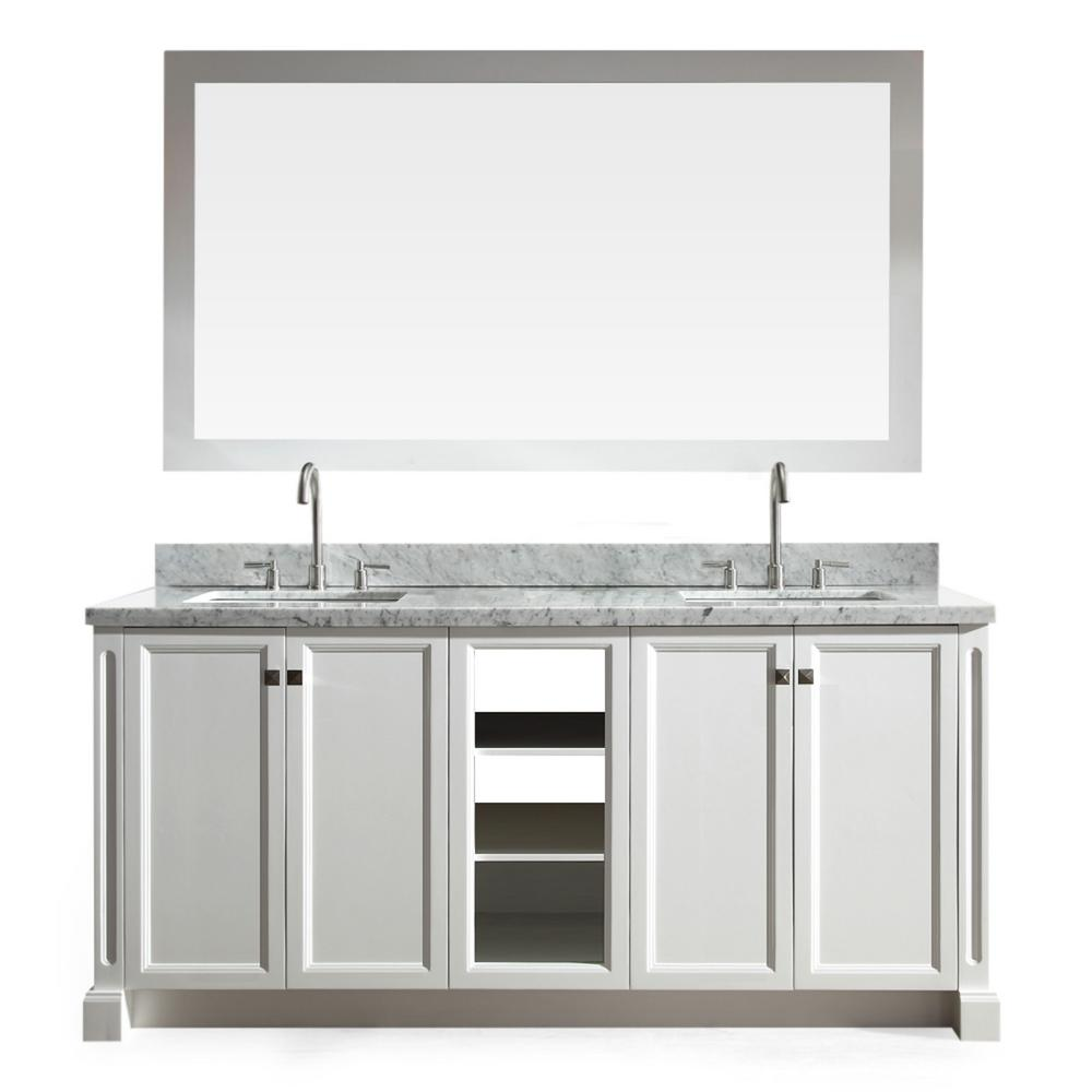 Ariel Westwood 73 in. Bath Vanity in White with Marble Vanity Top in Carrara White with White Basins and Mirror