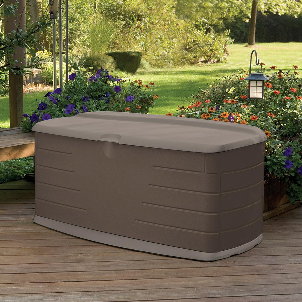Details About Rubbermaid Outdoor Patio Deck Storage Box Bin Container Bench  Seat Furniture