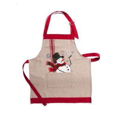 0.1 in. H x 16 in. W x 22 in. D Frosty Christmas Kids Apron