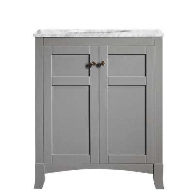 Arezzo 30 in. W x 22 in. D x 36 in. H Vanity in Grey with Marble Vanity Top in Carrara White with Basin