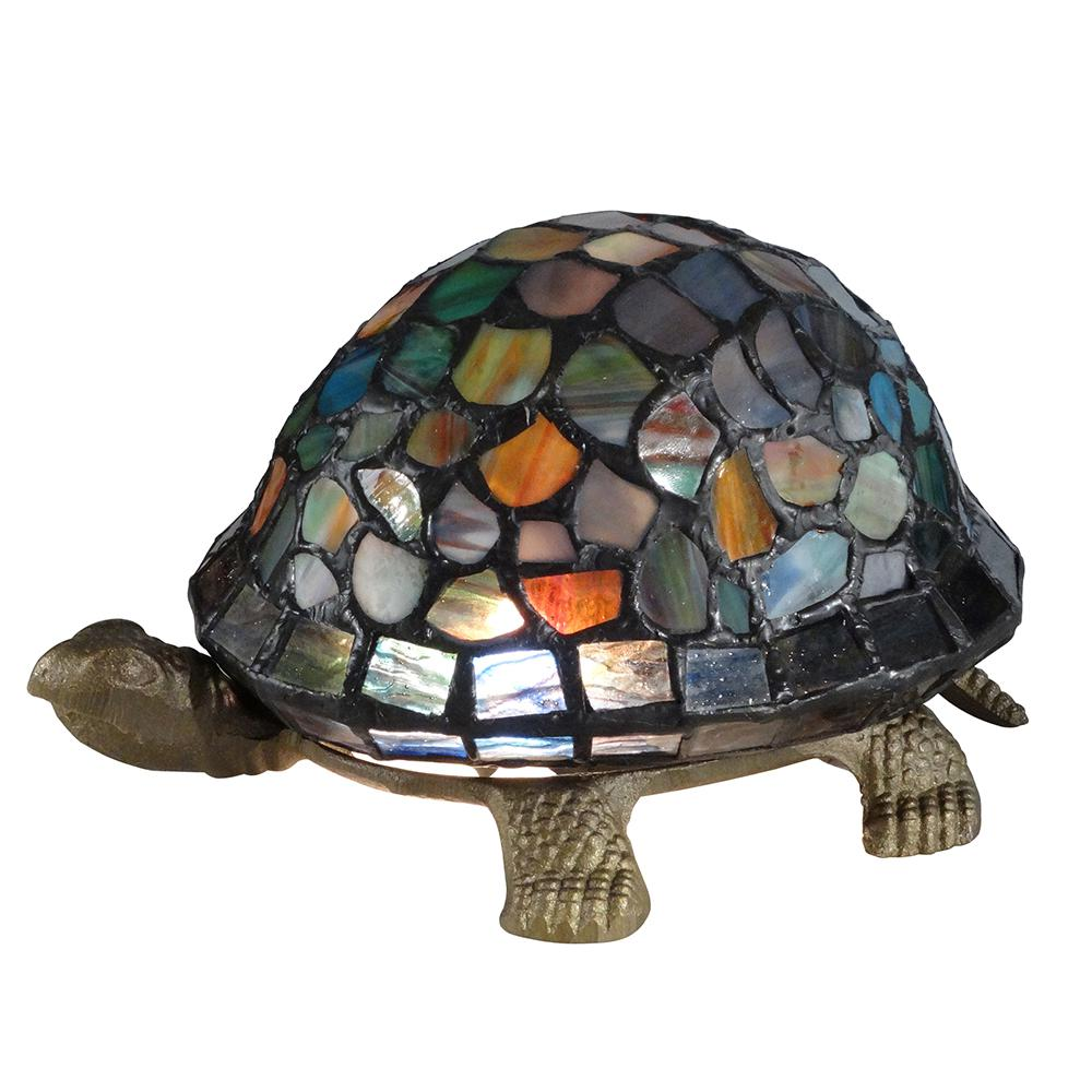 Blue Turtle 4.25 in. Antique Brass Accent Lamp with Tiffany Glass