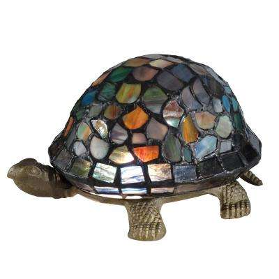 Blue Turtle 4.25 in. Antique Brass Accent Lamp with Tiffany Glass Shade