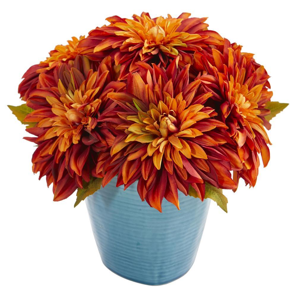 11 in. High Orange Dahlia Artificial Arrangement in Blue Ceramic Vase