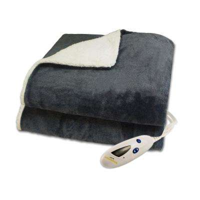 4496 Series Heather Gray in Color 1-Size 50 in. x 62 in. 2 Tone Velour Sherpa Heated Throw