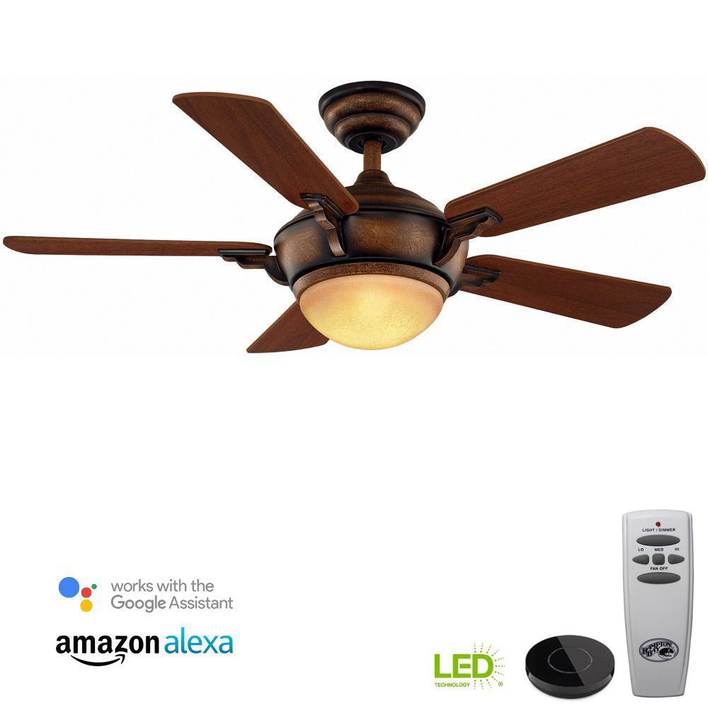 Hampton Bay Midili 44 in. LED Gilded Espresso Ceiling Fan with Light Kit Works with Google Assistant and Alexa