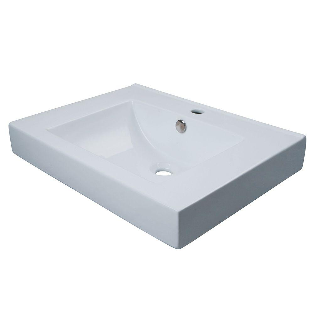 Kingston Brass Wall Mount or Countertop Bathroom Sink in White. Kingston Brass Wall Mount or Countertop Bathroom Sink in White
