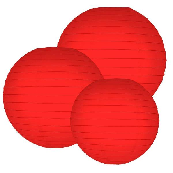 Lumabase Multi Size Red Paper Lanterns (6-Count)