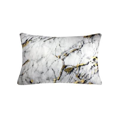Precious Metals White and Marble Graphic Polyester 14 in. x 20 in. Throw Pillow