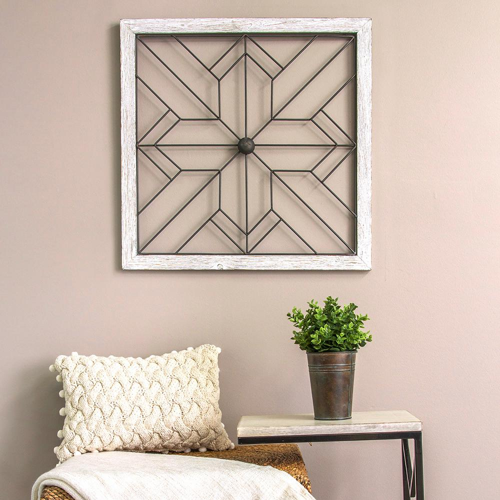 Stratton home decor square metal and wood art deco wall for Deco decorations