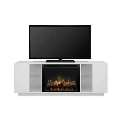 Flex Lex 64 in. Freestanding Electric Fireplace TV Stand Media Console in White
