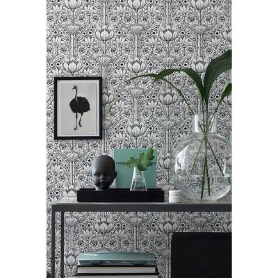 White Garden Damask Wallpaper