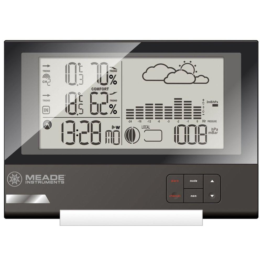 Meade Slim Line Personal Weather Station with Atomic Clock and TS21C Remote Sensor