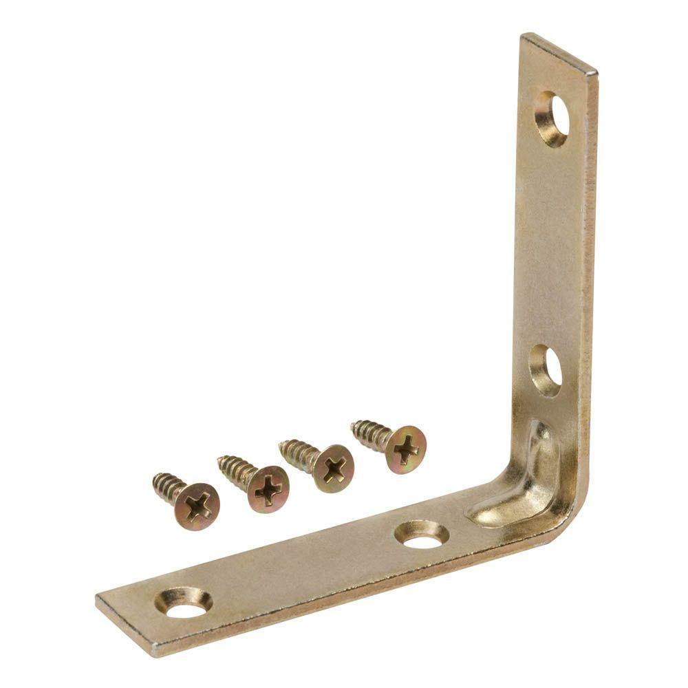 3 in. Satin Brass Corner Brace (4-Pack)