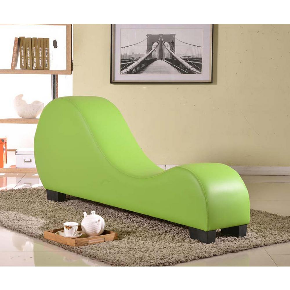 Green Faux Leather Chaise Lounge