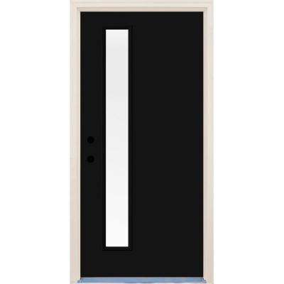 36 in. x 80 in. Inkwell 1 Lite Clear Glass Painted Fiberglass Prehung Front Door with Brickmould
