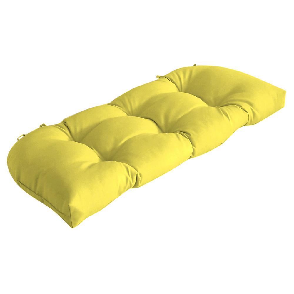 Rectangle Outdoor Wicker Settee Cushion in Lemon Leala Texture