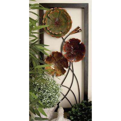 14 in. x 32 in. Contemporary Iron Floral Art Wall Decor (2-Pack)