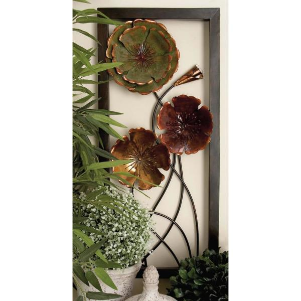 9c5b8c3d67 Litton Lane 14 in. x 32 in. Contemporary Iron Floral Art Wall Decor ...