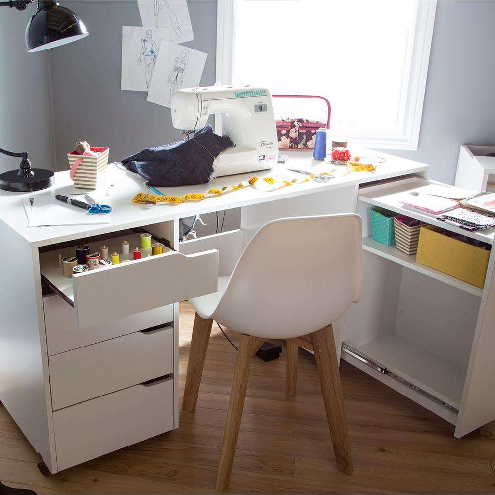 South S Crea Contemporary Pure White Sewing And Craft Desk