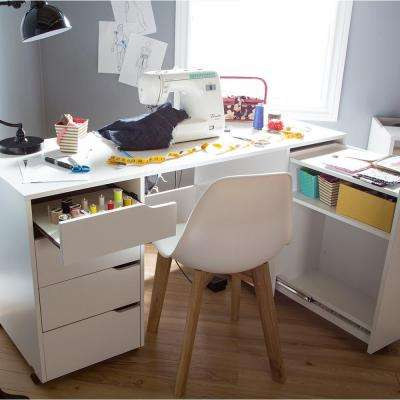 Crea Contemporary Pure White Sewing And Craft Desk