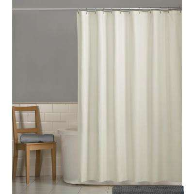 70 in. x 72 in. Water Repellent Fabric Shower Curtain Liner in Bone