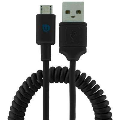 4 ft. USB Micro Sync Charge Coil Cable - Black