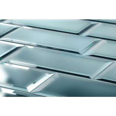 "Subway 3"" x 12"" Gray Blue Beveled Matte Glass Mirror Peel & Stick Decorative Bathroom Wall Tile Backsplash (4 Pc/Pack)"