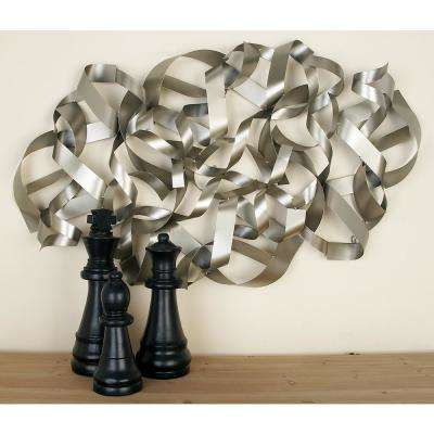Silver-Finished Abstract Curled Iron Band Wall Decor