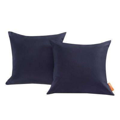 Convene Patio Square Outdoor Throw Pillow Set in Navy (2-Piece)