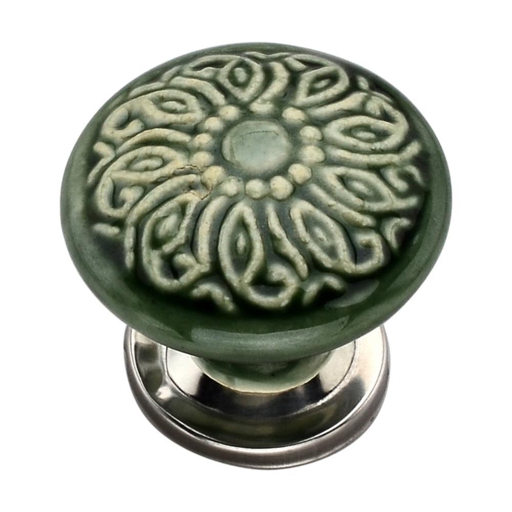 Intricate 1.57 in. Green Mushroom Cabinet Knob