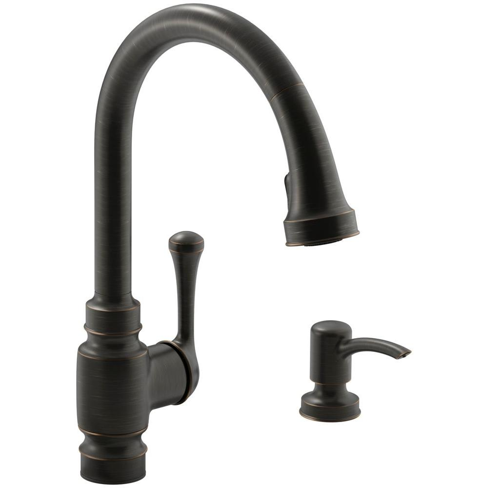 KOHLER Carmichael SingleHandle PullDown Sprayer Kitchen Faucet In - Oil rubbed bronze pull down kitchen faucet