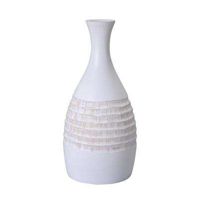 15 in. White Decorative Handmade Mango Wood Bottle Vase