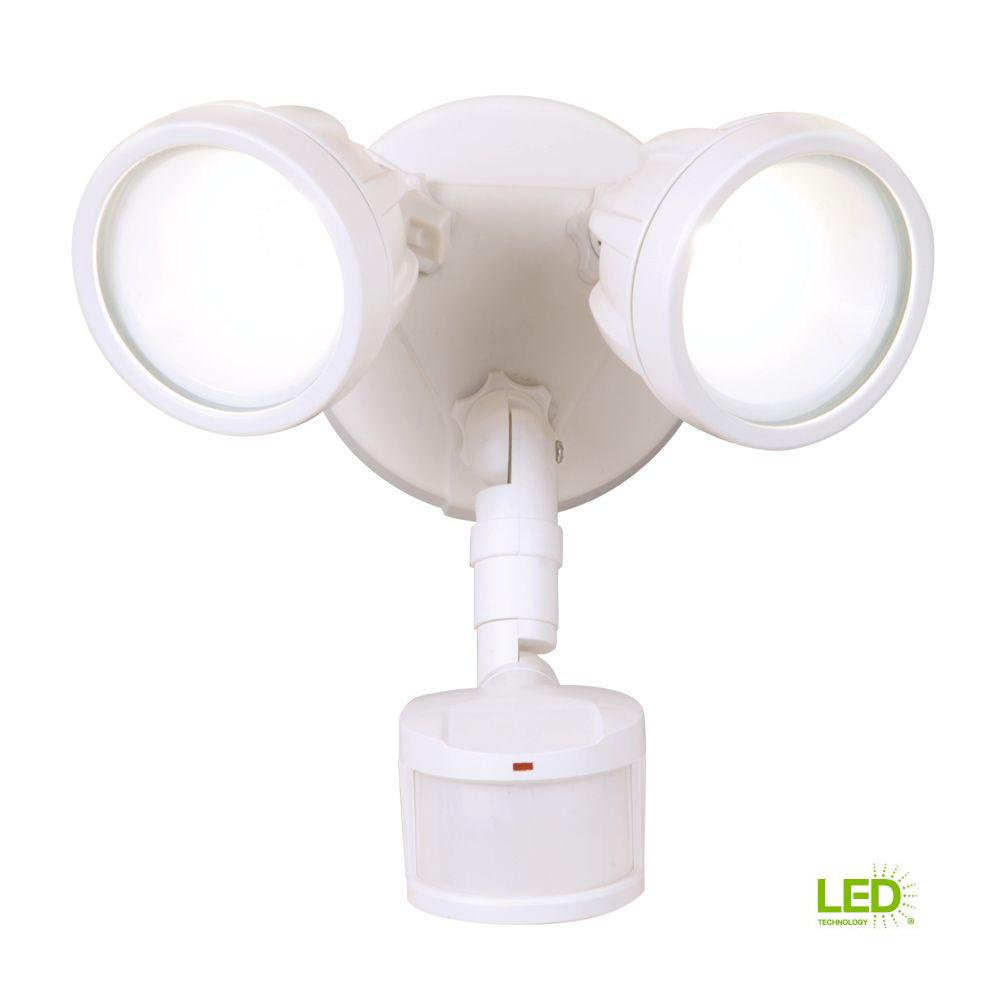 Light It White 6 Led Wireless Motion Activated Weatherproof Porch Wiring A Security 180 Degree Sensor Twin Head Round Outdoor Integrated