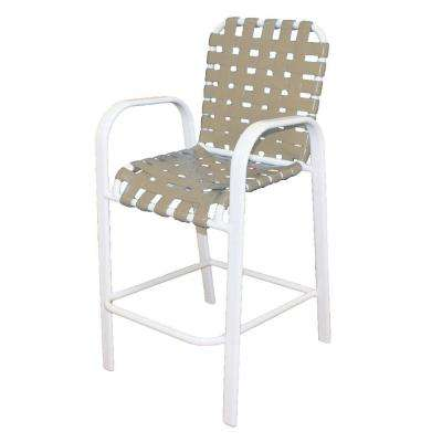 Marco Island White Commercial Grade Aluminum Vinyl Cross Strap Outdoor Bar Stool in Putty