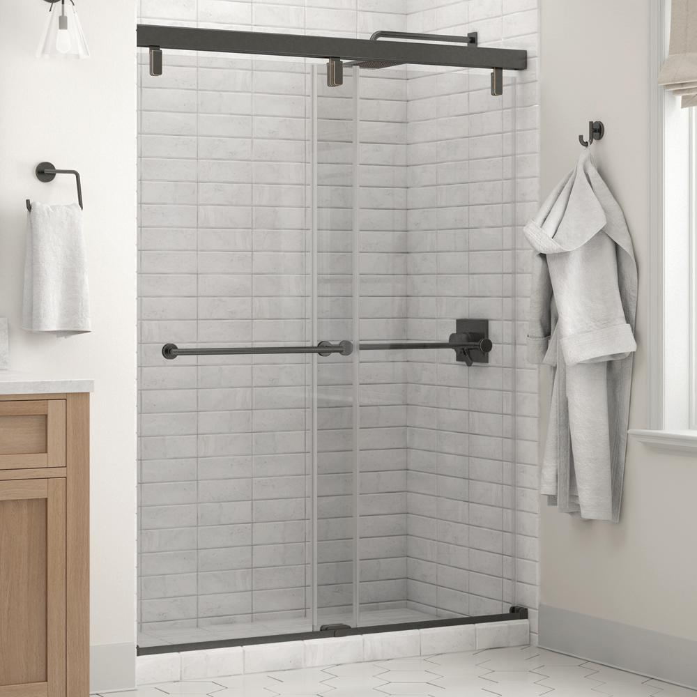 Delta Delta Everly 60 x 71-1/2 in. Frameless Mod Soft-Close Sliding Shower Door in Bronze with 1/4 in. (6mm) Clear Glass