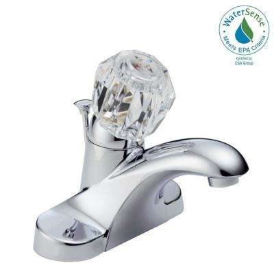 Centerset Single Handle Bathroom Faucet With Metal Drain Assembly In Chrome
