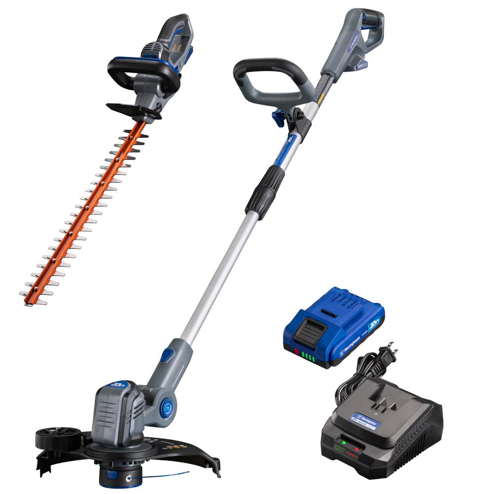 Westinghouse 20-Volt Cordless String Trimmer/Edger and Hedge Trimmer Combo Kit (2-Tool) 2 Ah Battery and Rapid Charger Included