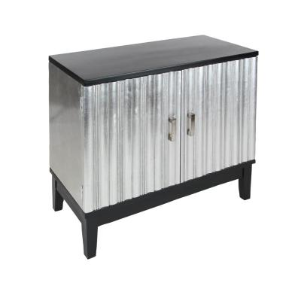 Silver and Black 2-Door Cabinet
