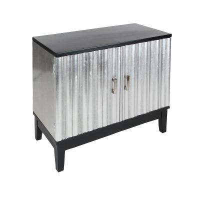Silver And Black 2 Door Cabinet