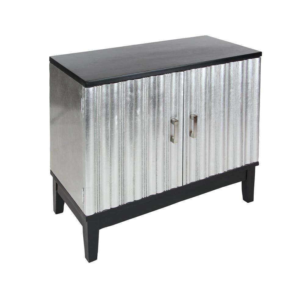 Silver And Black 2 Door Cabinet 22641