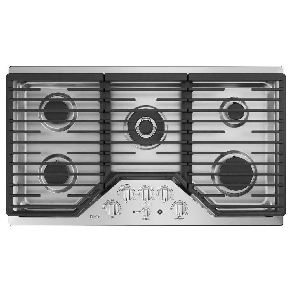 5 Burner Gas Cooktops: GE Profile 36 In. Gas Cooktop In Stainless Steel With 5