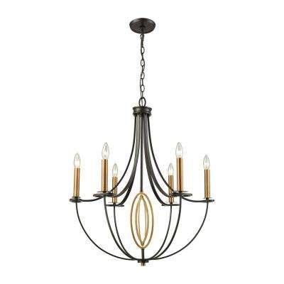 Dione 6-Light Oil Rubbed Bronze with Brushed Antique Brass Accents Chandelier