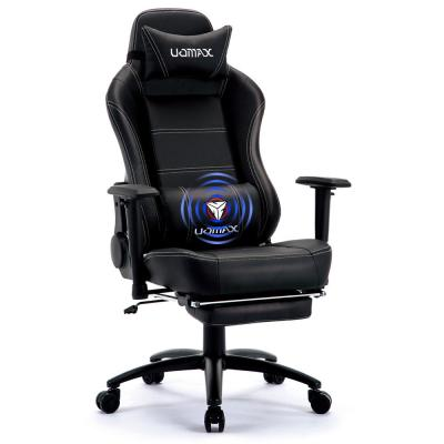 Black Reclining Black Massage Gamer Chair for Adults, Video Game Chair , Lumbar Support and Headrest