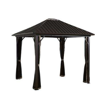 12 ft. D x 12 ft. W Genova Aluminum Gazebo with Galvanized Steel Roof Panels and Mosquito Netting