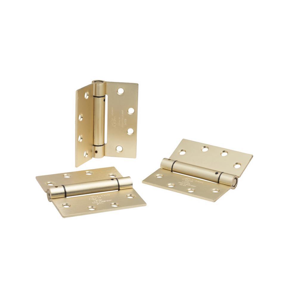 4.5 in. x 4.5 in. Satin Brass Steel Spring Hinge (Set of 3)