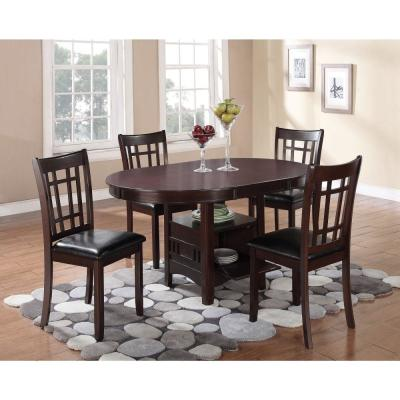 Espresso Brown Wooden Dining Table with Storage Compartment