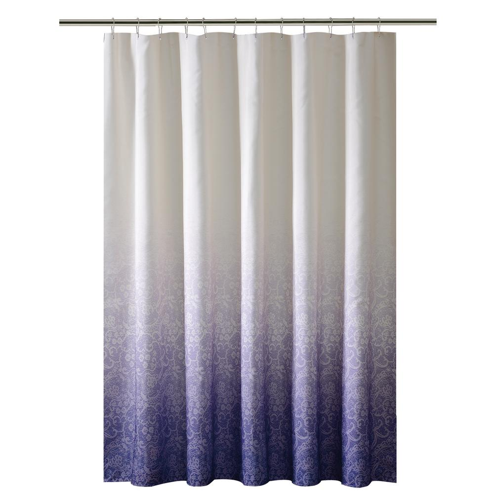 72 in. Purple Shower Curtain in Ombre Printed Polyester
